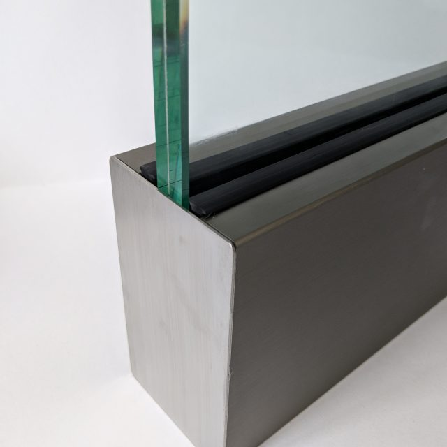Solus frameless balustrade channel with end cap