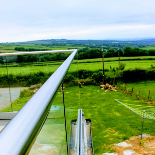 view from the top of frameless glass balustrade