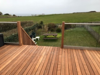 glass balustrade on a wooden deck