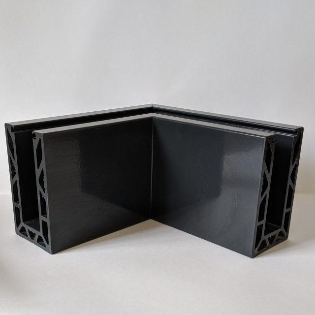 powdercoated solus frameless balustrade corner