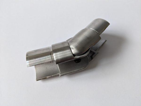 Glass balustrade adjustable handrail upwards connector