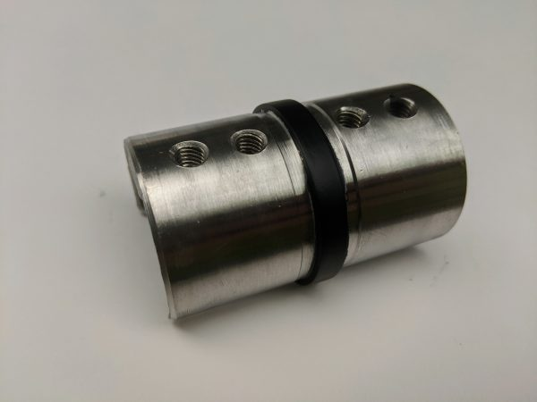 black straight coloured metal handrail connector for glass balustrade